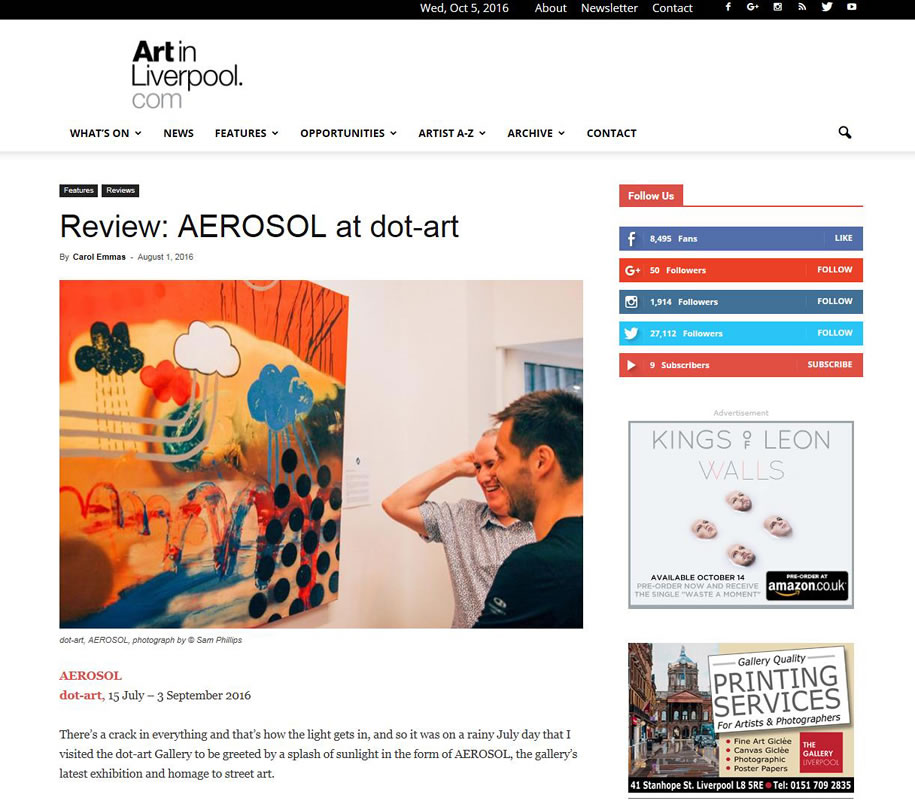 Aerosol review, ArtInLiverpool